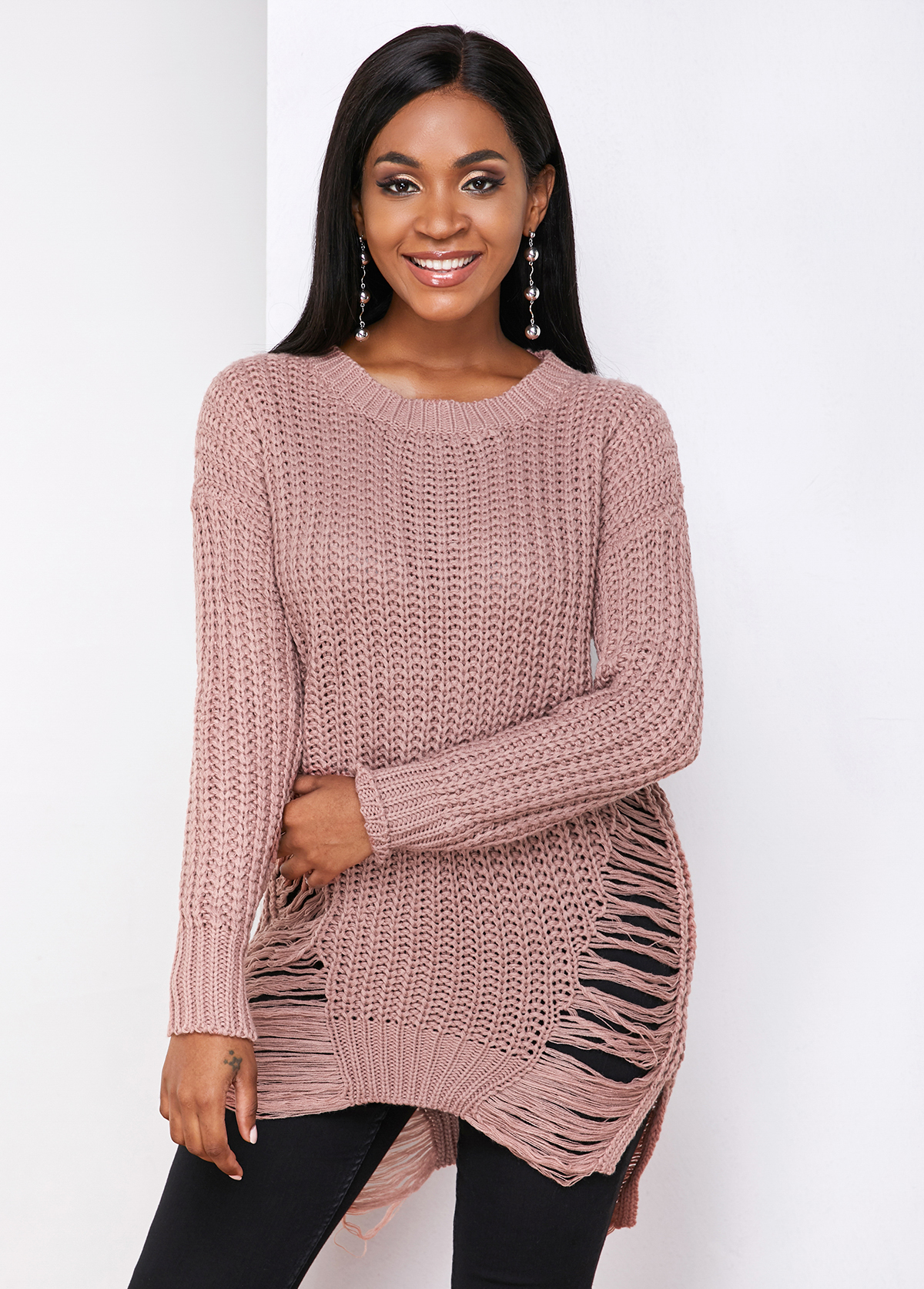 Shredded Round Neck Long Sleeve Sweater