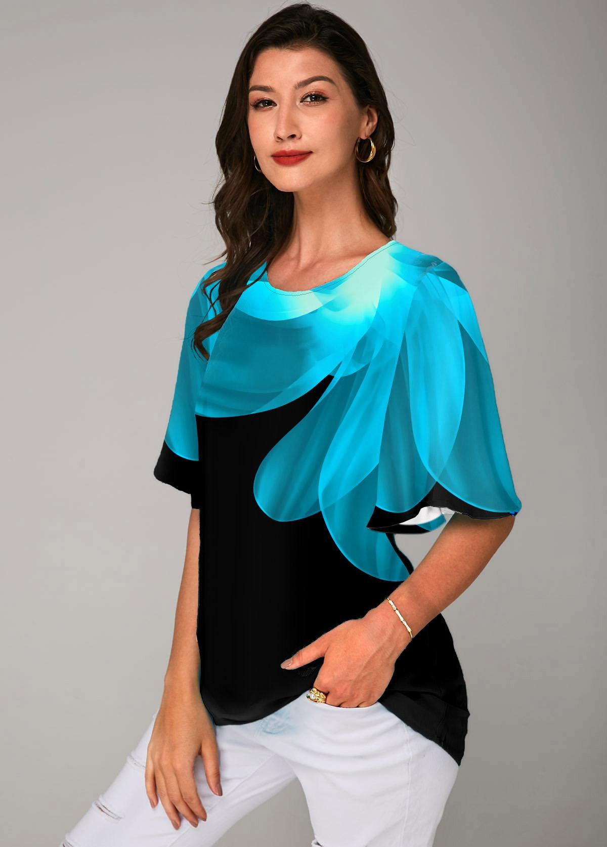 ROTITA Printed Half Sleeve Round Neck T Shirt