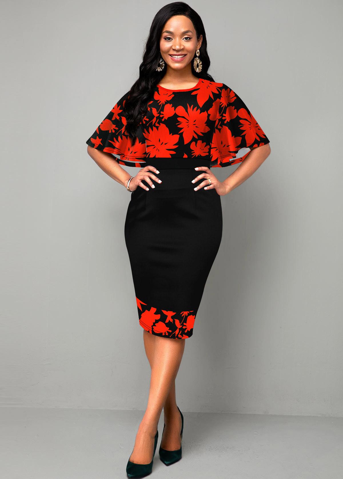 ROTITA Printed Cape Sleeve Round Neck Dress