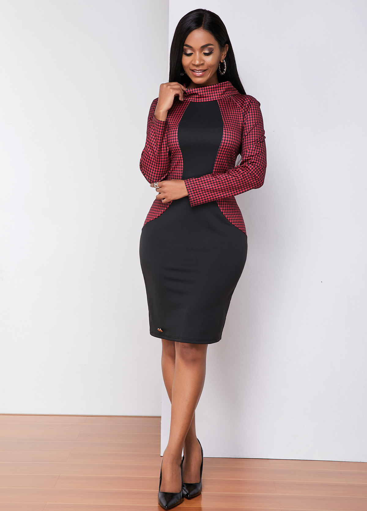 ROTITA Plaid Print Long Sleeve Sheath Dress
