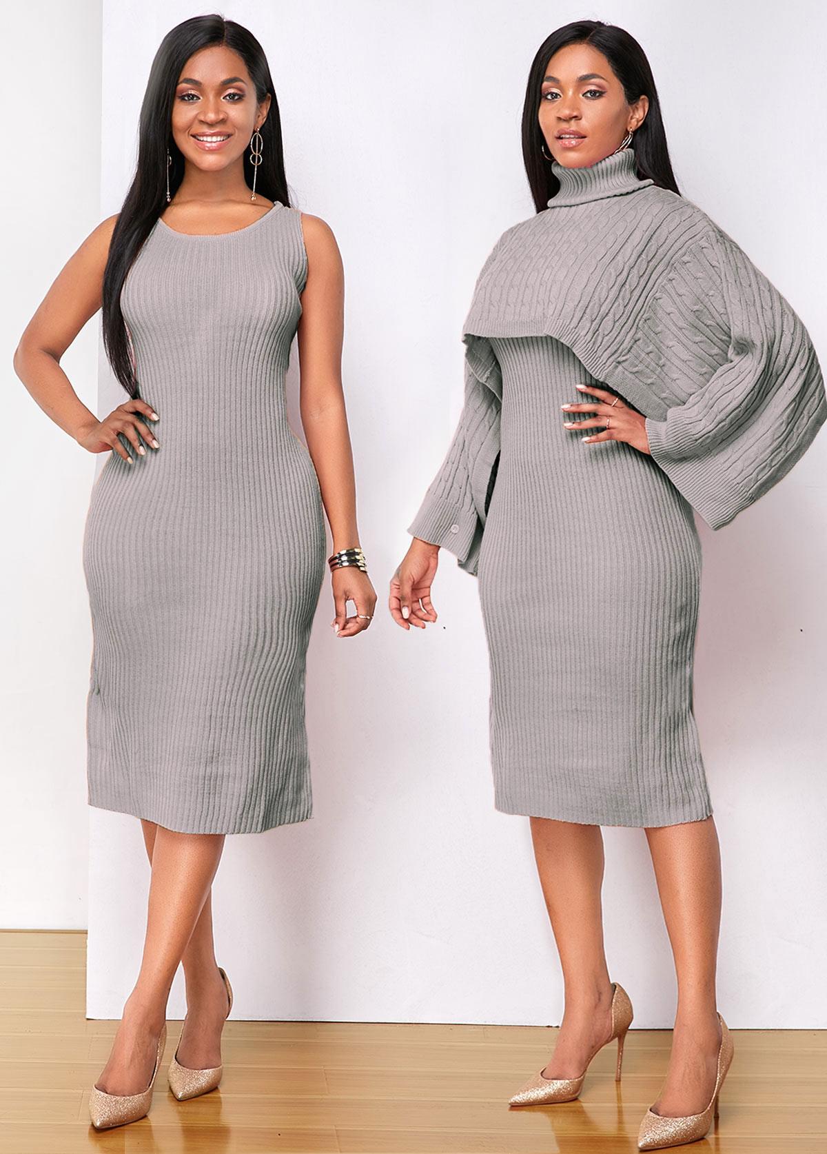 ROTITA Turtleneck Top and Sleeveless Sweater Dress