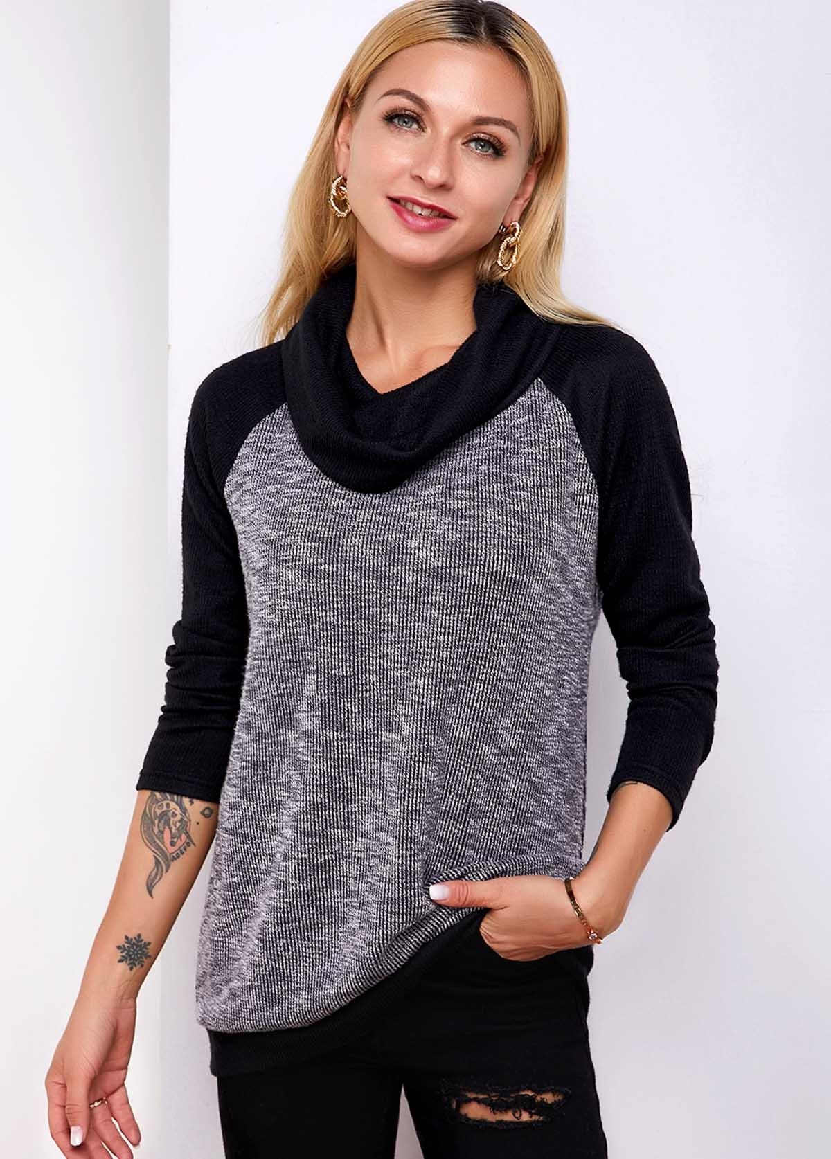 ROTITA Contrast Cowl Neck Long Sleeve T Shirt
