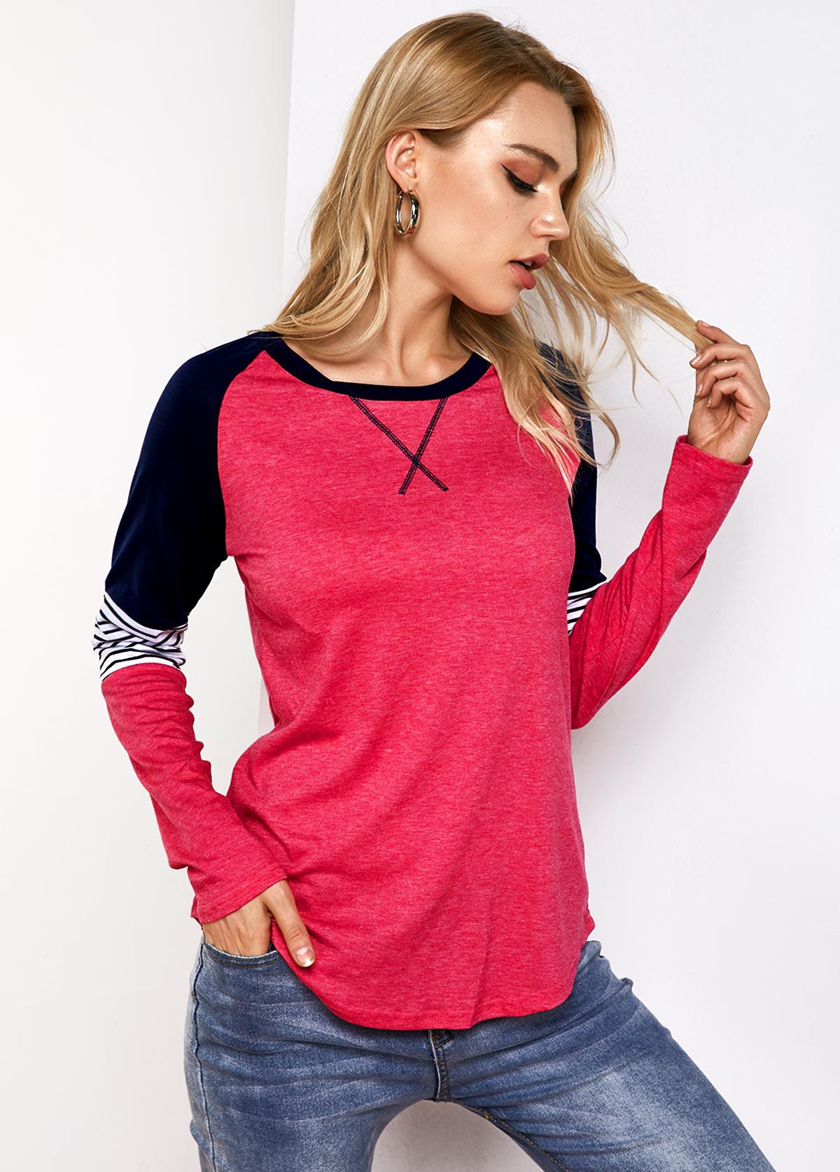 Stripe Print Contrast Round Neck T Shirt