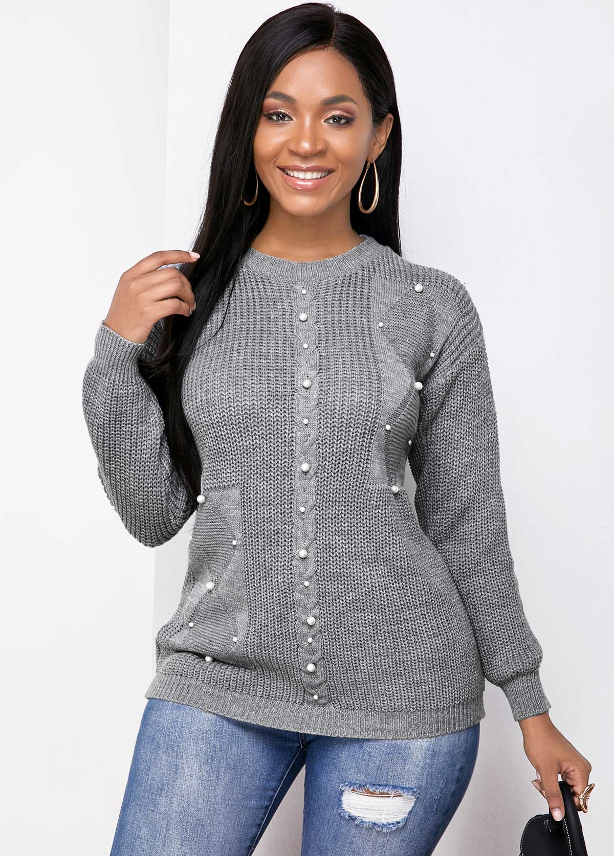 Pearl Detail Long Sleeve Round Neck Sweater