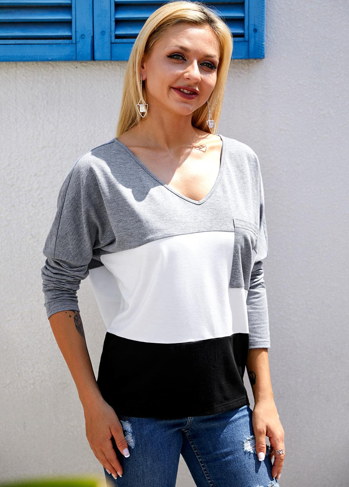 ROTITA Color Block Long Sleeve V Neck T Shirt