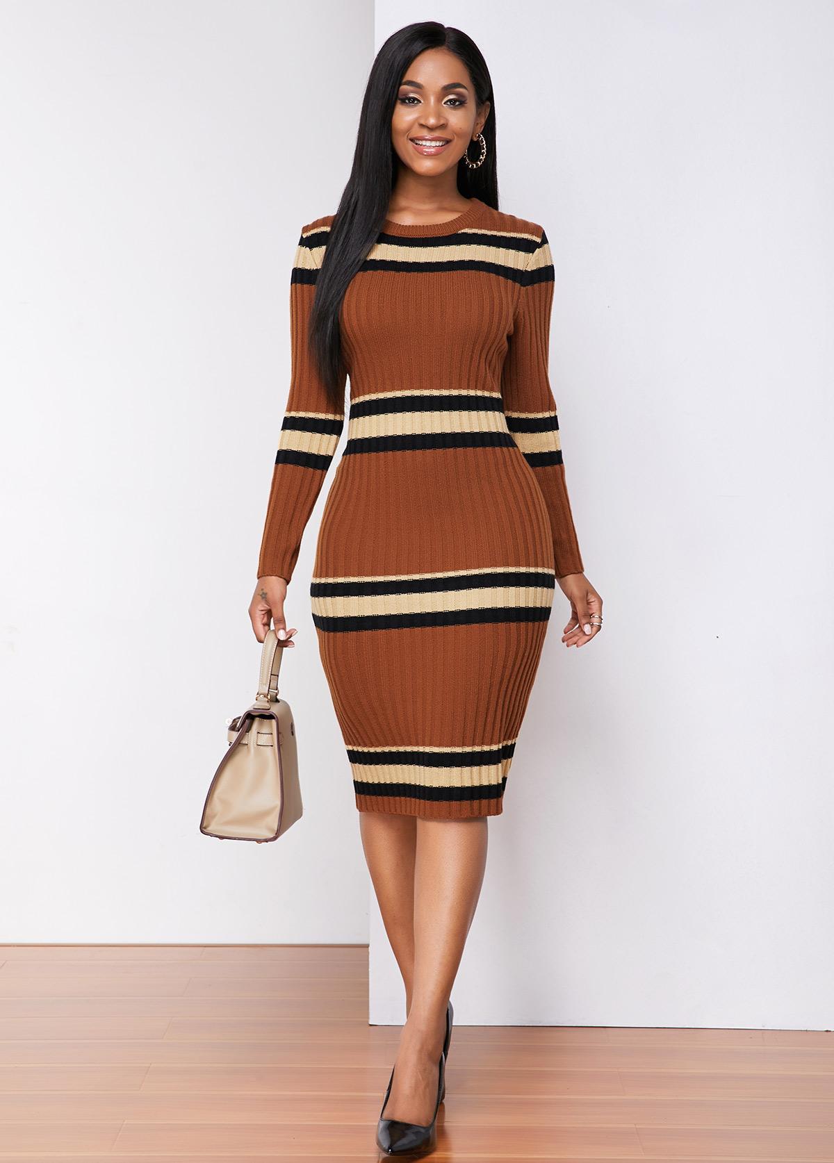 ROTITA Long Sleeve Contrast Round Neck Sweater Dress