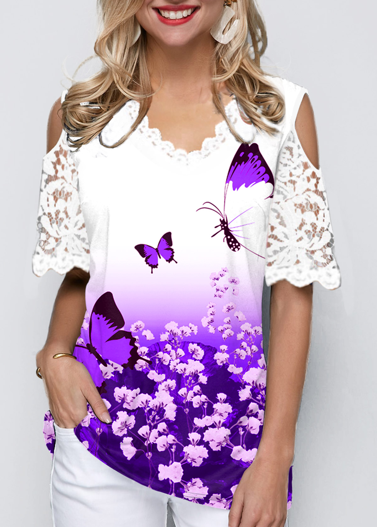 ROTITA Cold Shoulder Butterfly Print Lace Panel Ombre T Shirt