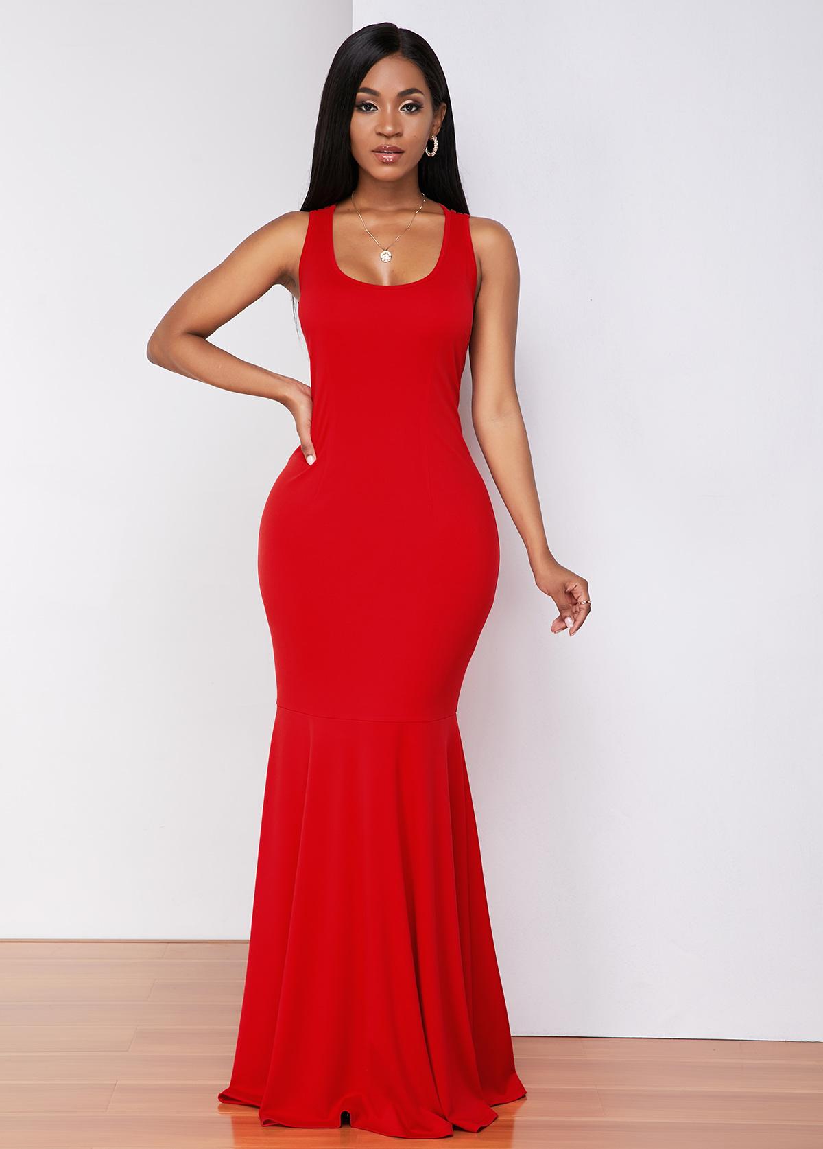 ROTITA Strappy Back Wide Strap Mermaid Dress