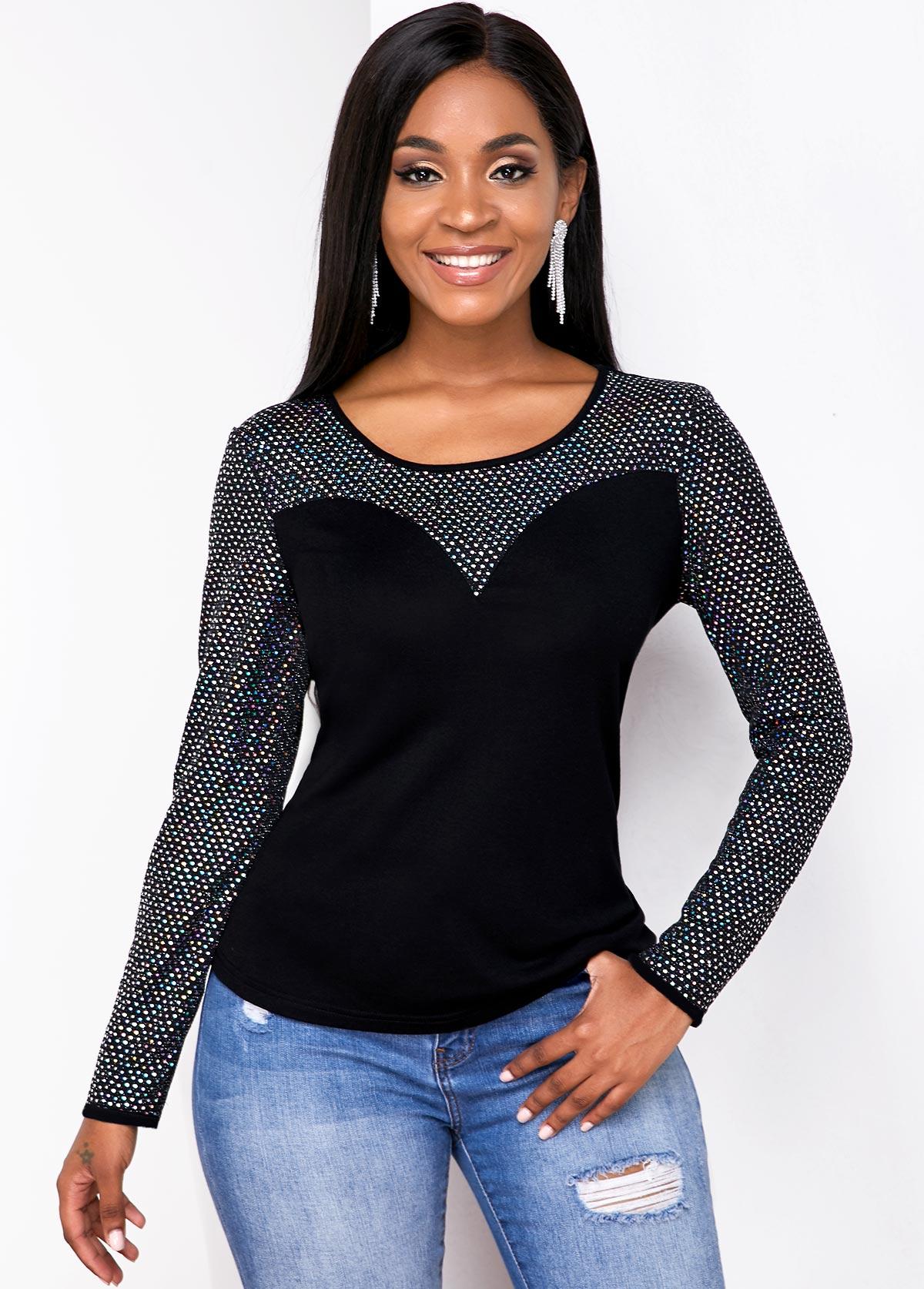 ROTITA Long Sleeve Round Neck Contrast T Shirt