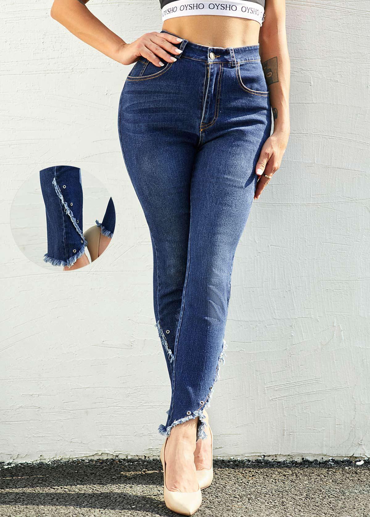 ROTITA Frayed Hem Grommet Mid Waist Jeans