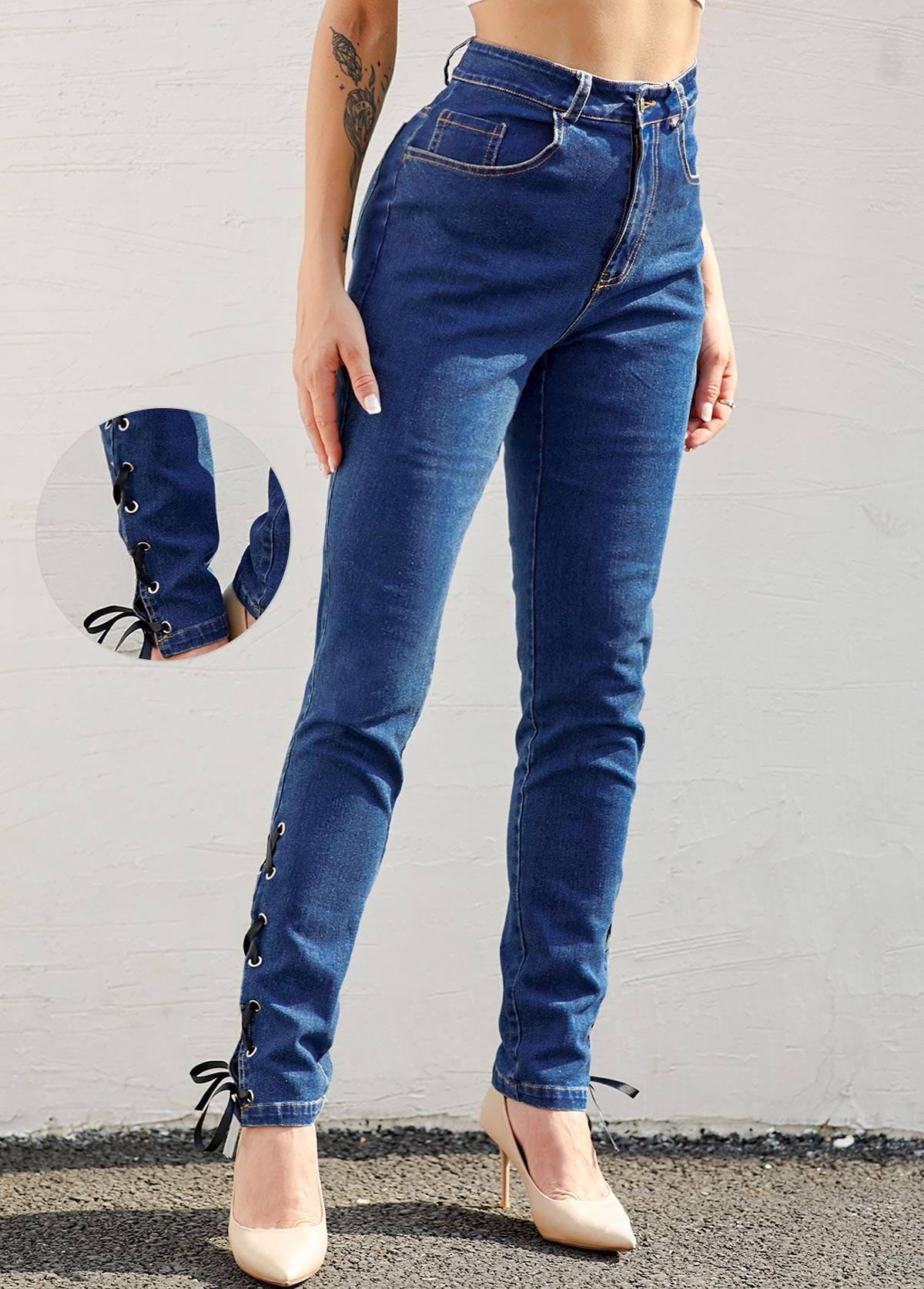 ROTITA High Waist Lace Up Denim Blue Jeans