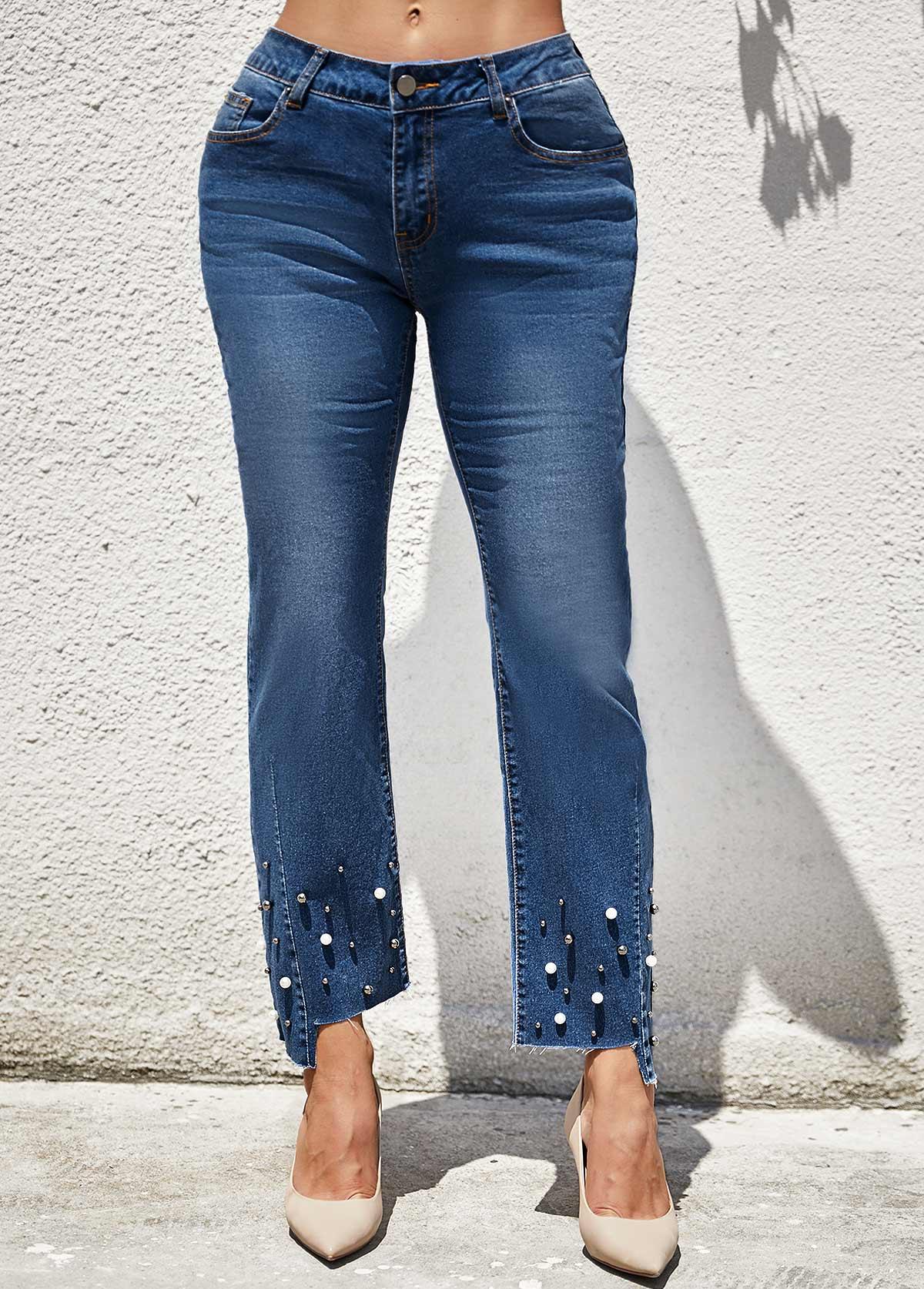 ROTITA Mid Waist Beads Detail Pocket Jeans