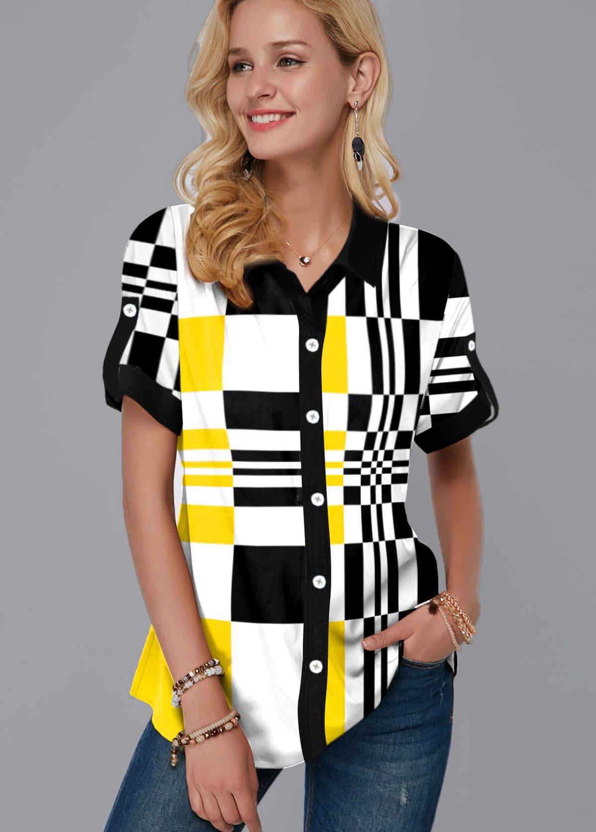 ROTITA Geometric Print Turndown Collar Button Up Shirt
