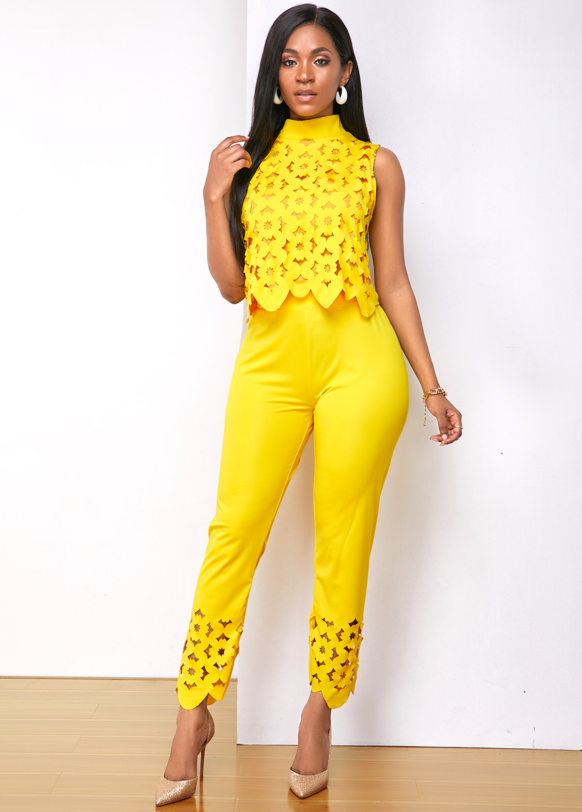 Sleeveless Mock Neck Pierced Top and Pants