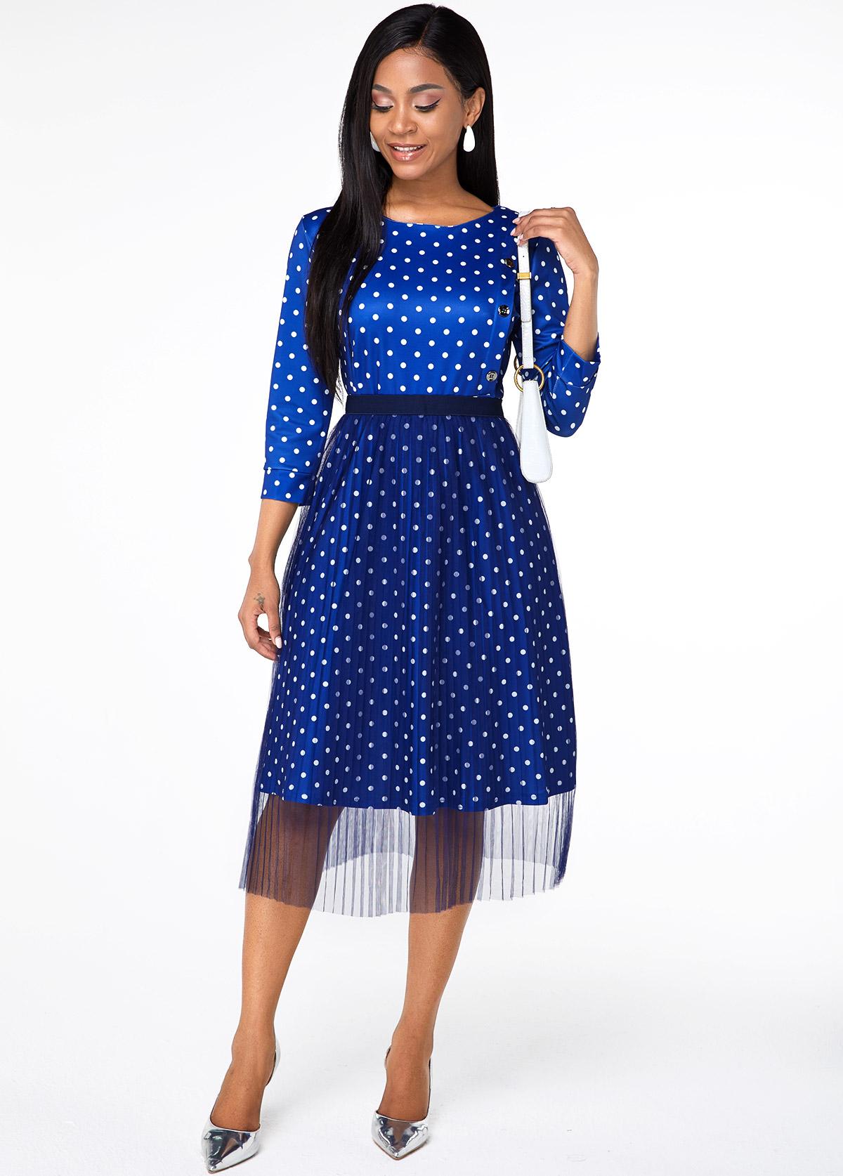 Round Neck Button Detail Polka Dot Dress