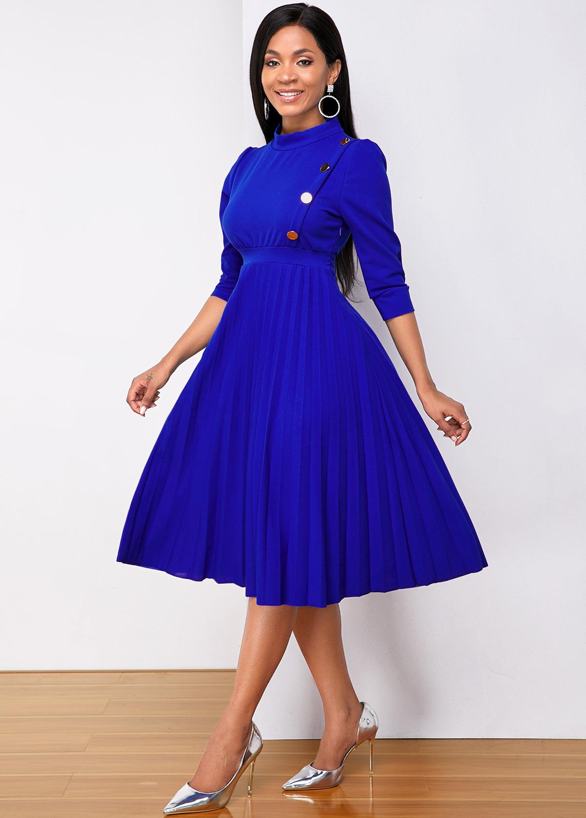 Three Quarter Sleeve Metal Button Pleated Dress