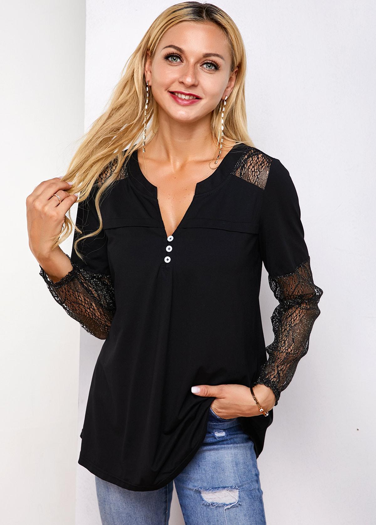 ROTITA Long Sleeve Lace Panel Button Detail T Shirt