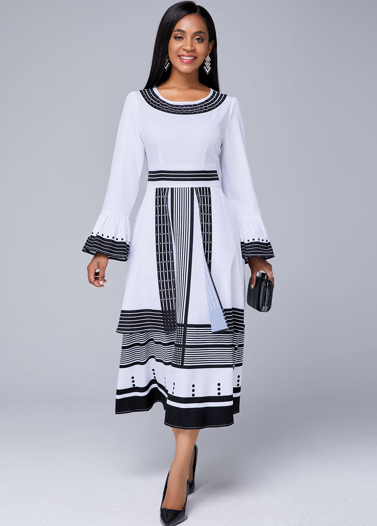 ROTITA Flare Sleeve Strip Print Round Neck Dress