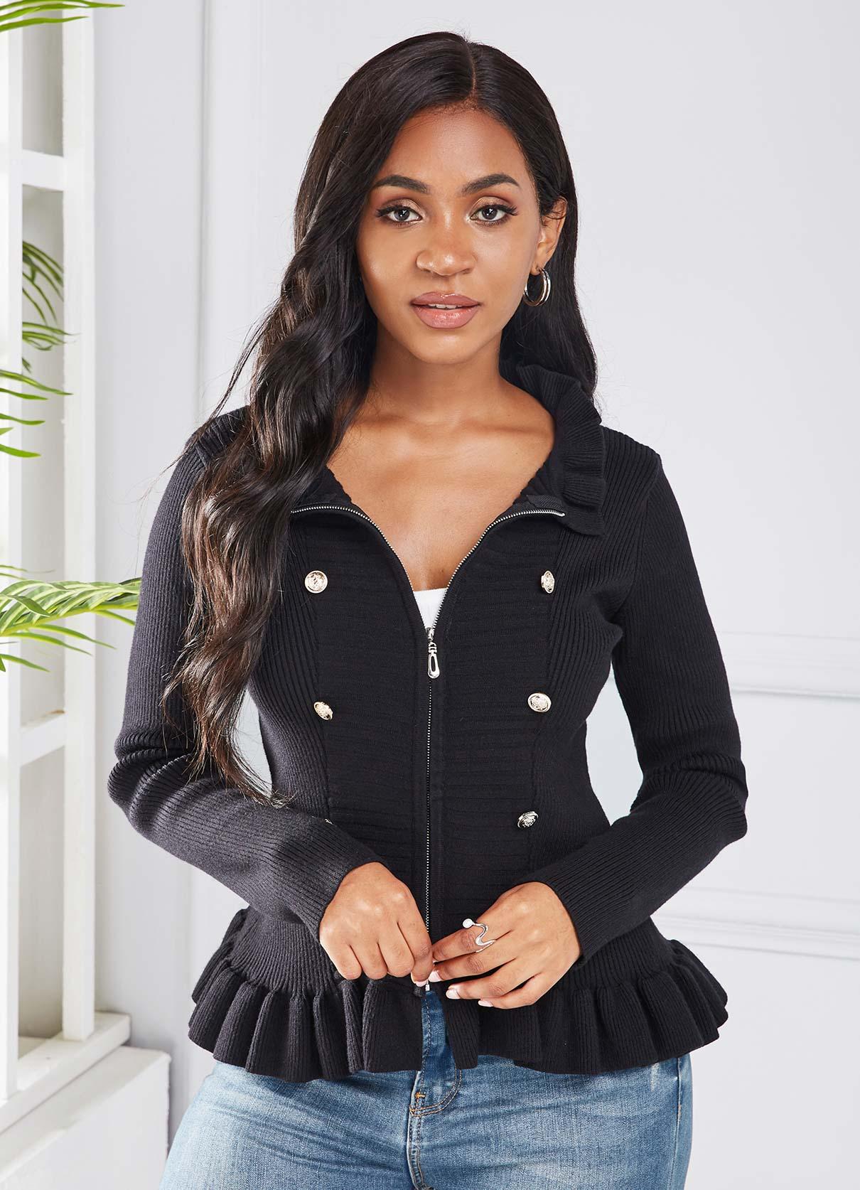 ROTITA Zipper Closure Button Detail Ruffle Hem Knitted Jacket