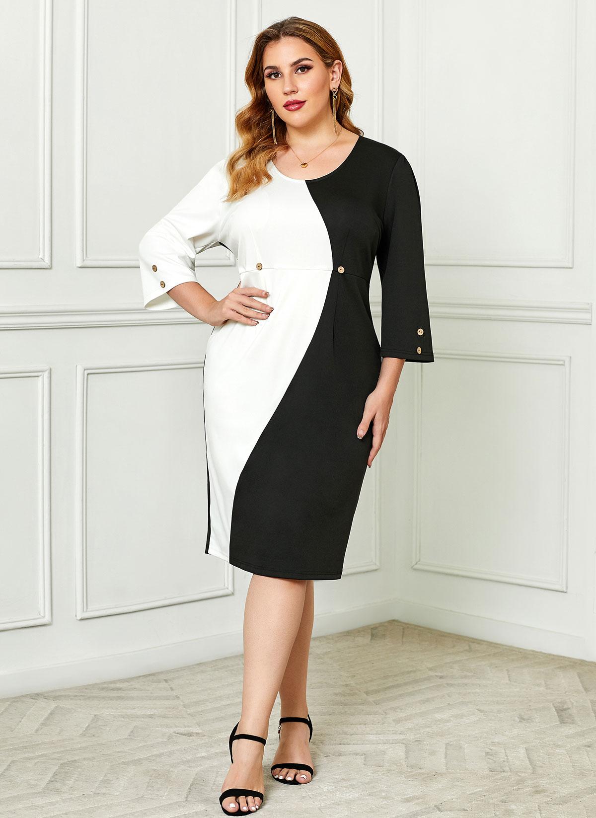ROTITA Color Block Plus Size Button Detail Dress