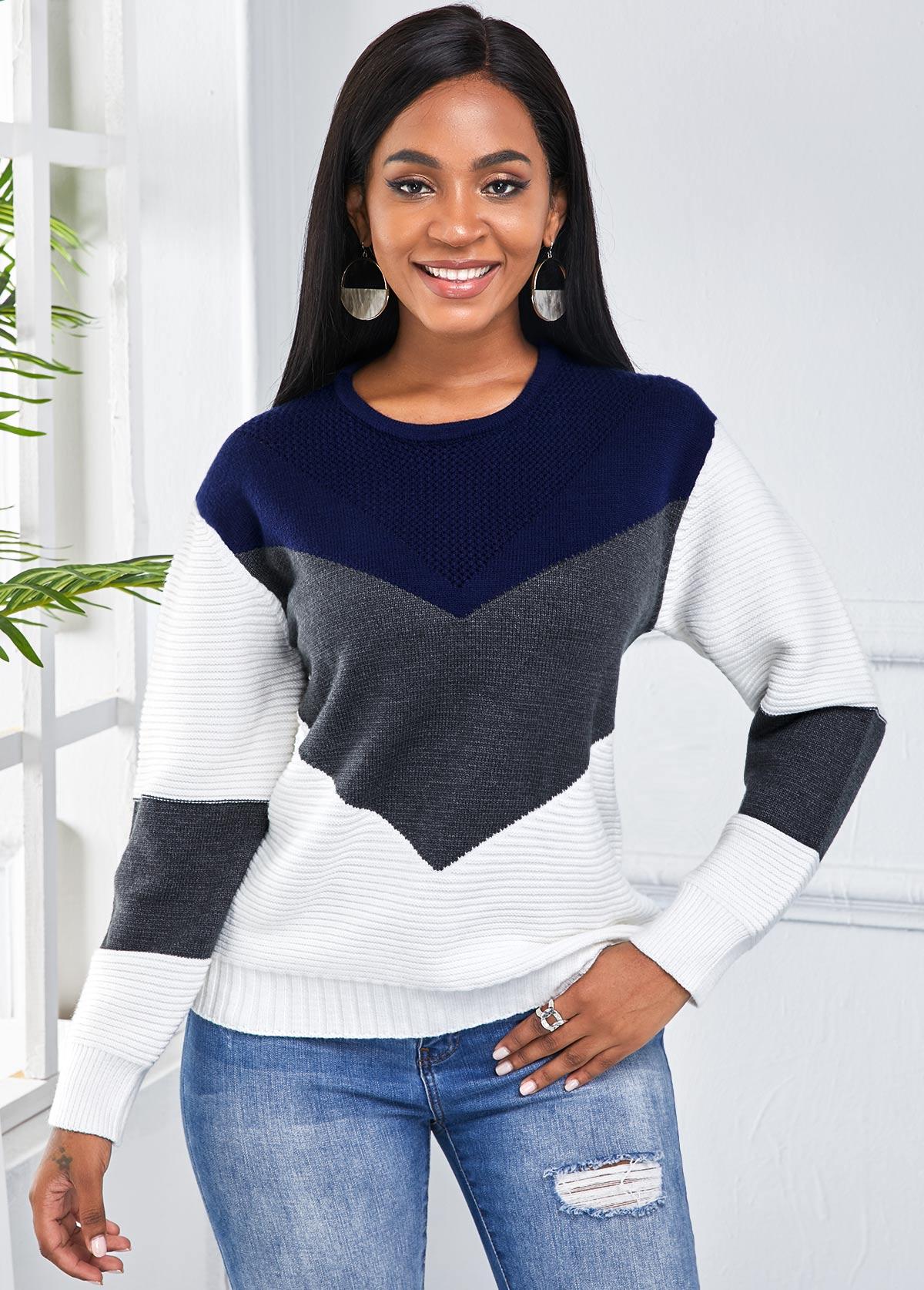 ROTITA Round Neck Long Sleeve Color Block Sweater