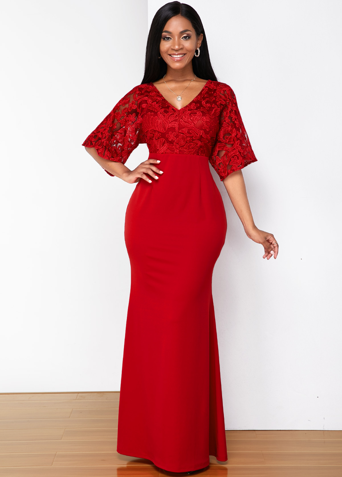 ROTITA Butterfly Sleeve Lace Stitching V Neck Maxi Dress