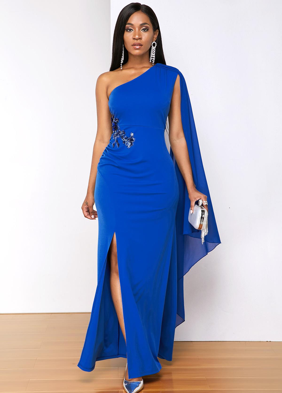 ROTITA Sequin Detail Side Slit Cape Sleeve Maxi Dress
