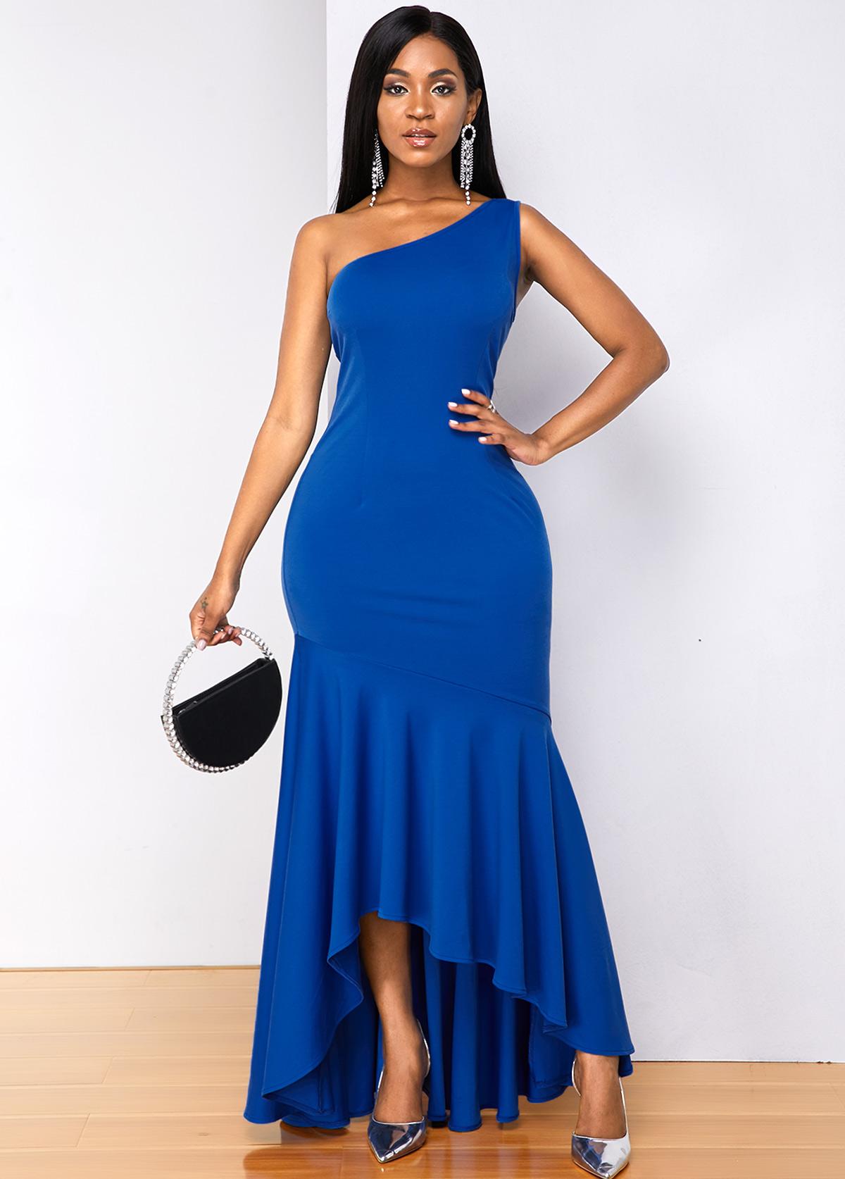 ROTITA Mermaid Hem One Shoulder Sleeveless Dress