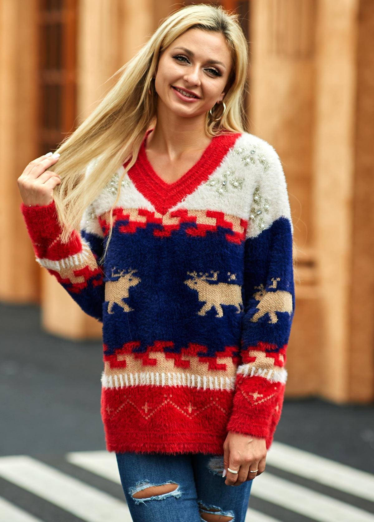 Christmas Deer Pattern Long Sleeve Sweater