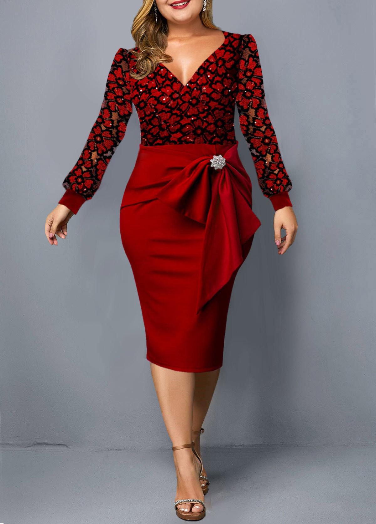 ROTITA Plus Size Bowknot Lace Panel Dress
