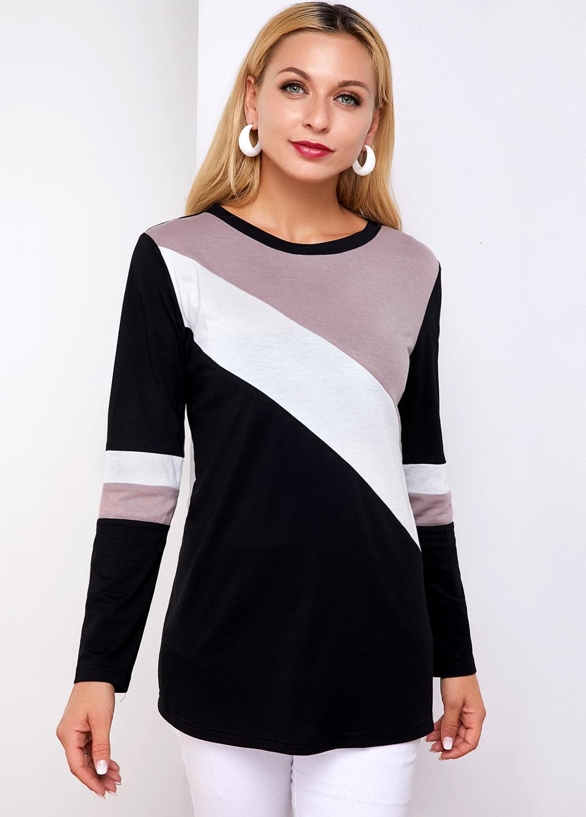 ROTITA Round Neck Long Sleeve Contrast T Shirt