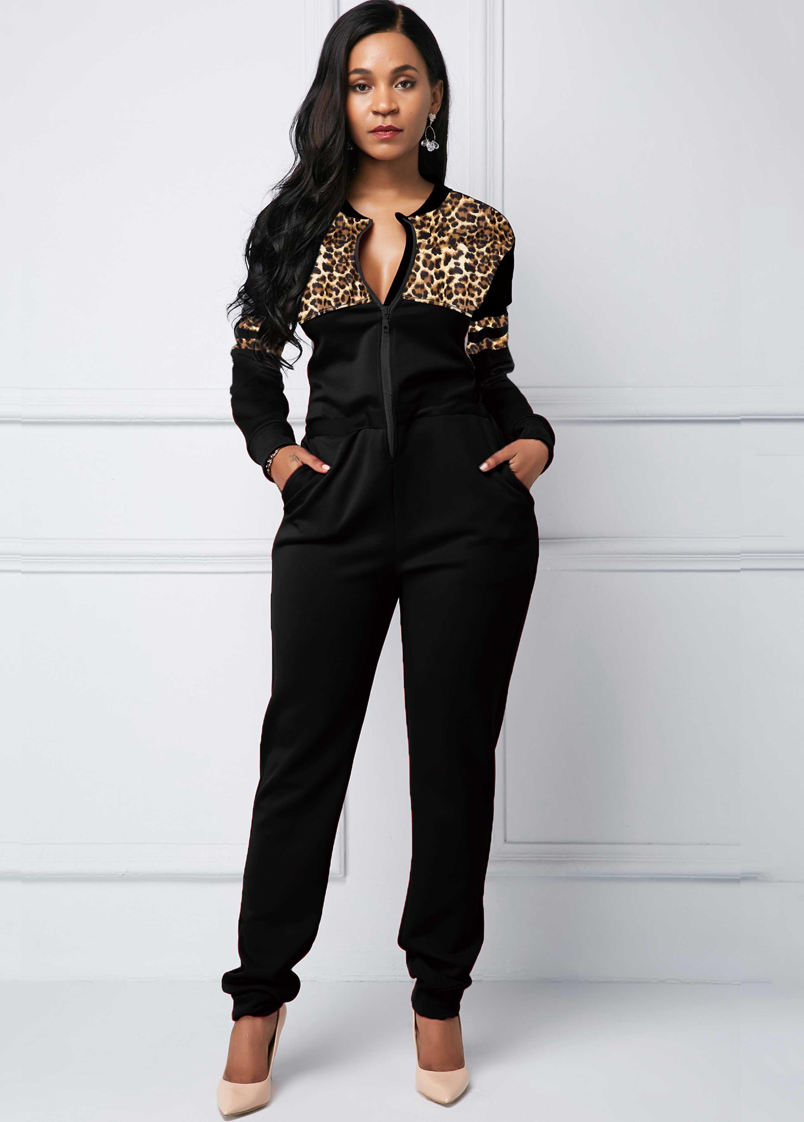 ROTITA Pocket Leopard Print Zipper Closure Jumpsuit