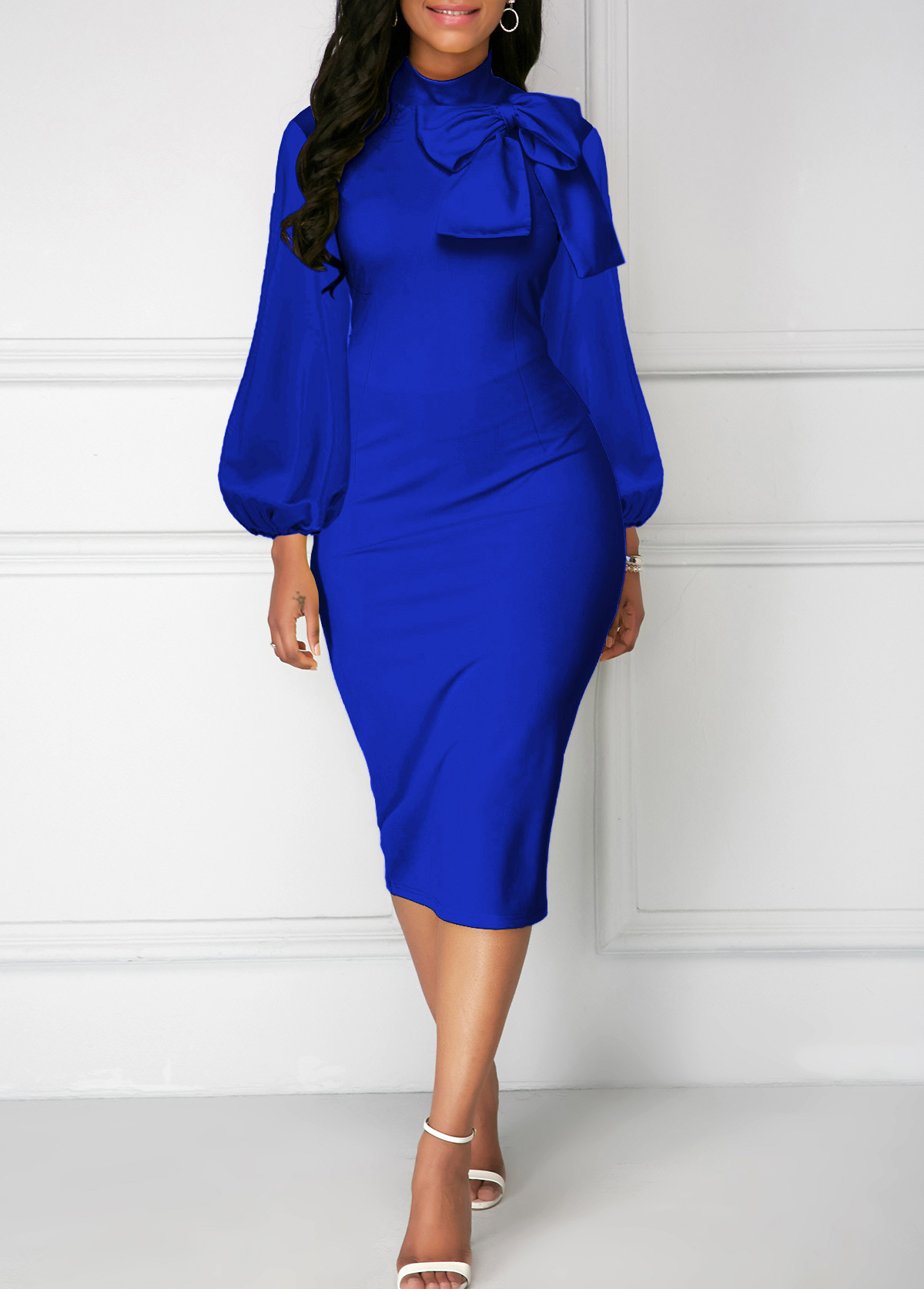ROTITA Lantern Sleeve Bowknot Neck Sheath Dress