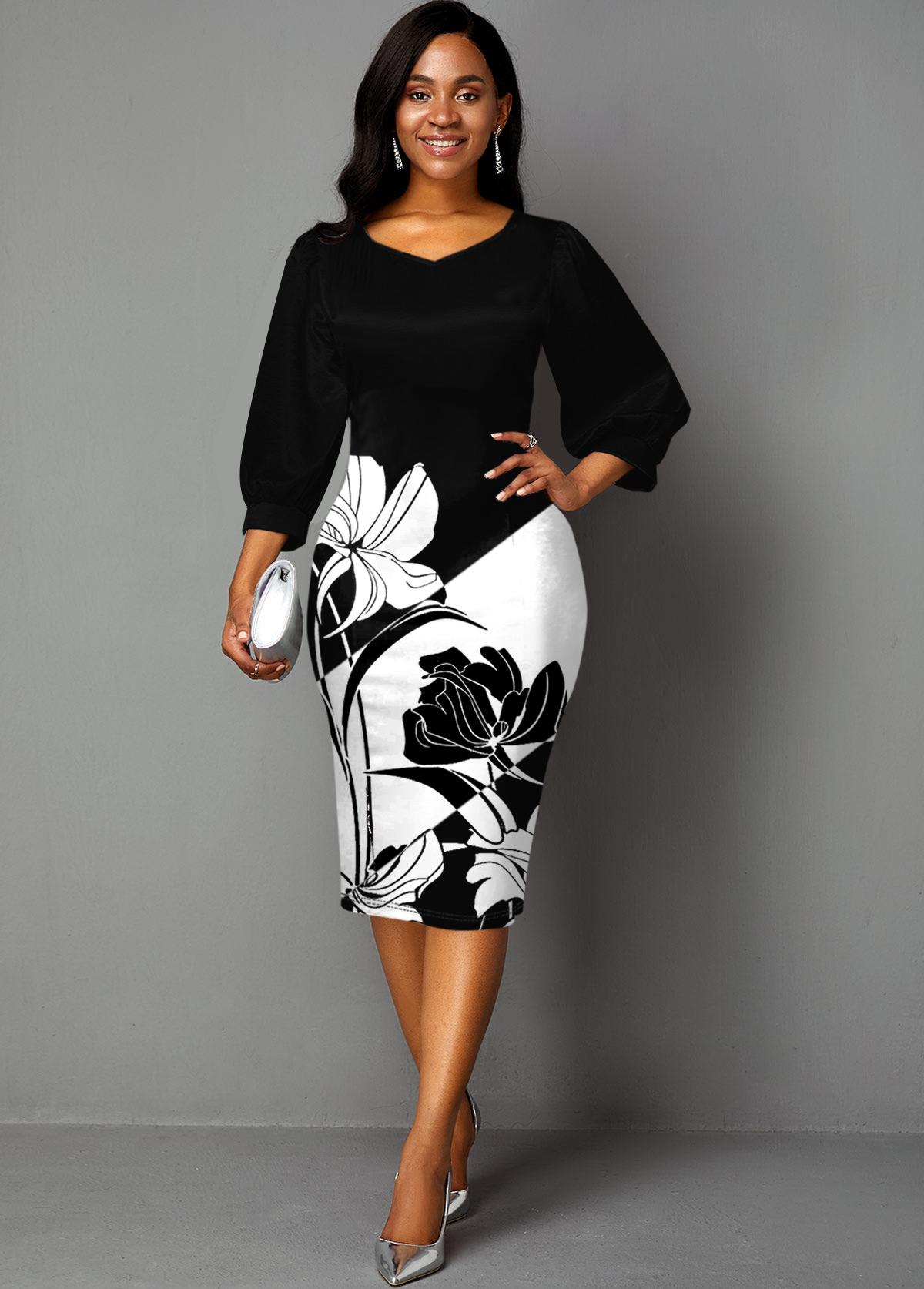 ROTITA Lantern Sleeve Contrast Floral Print Dress