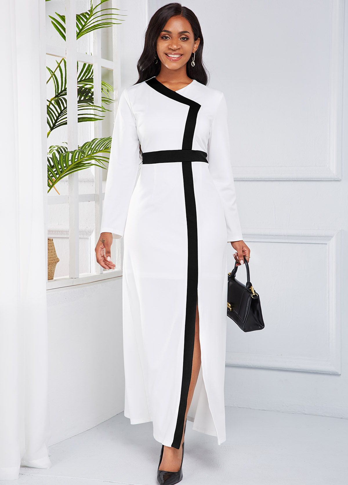 ROTITA  Front Slit Long Sleeve Contrast Maxi Dress