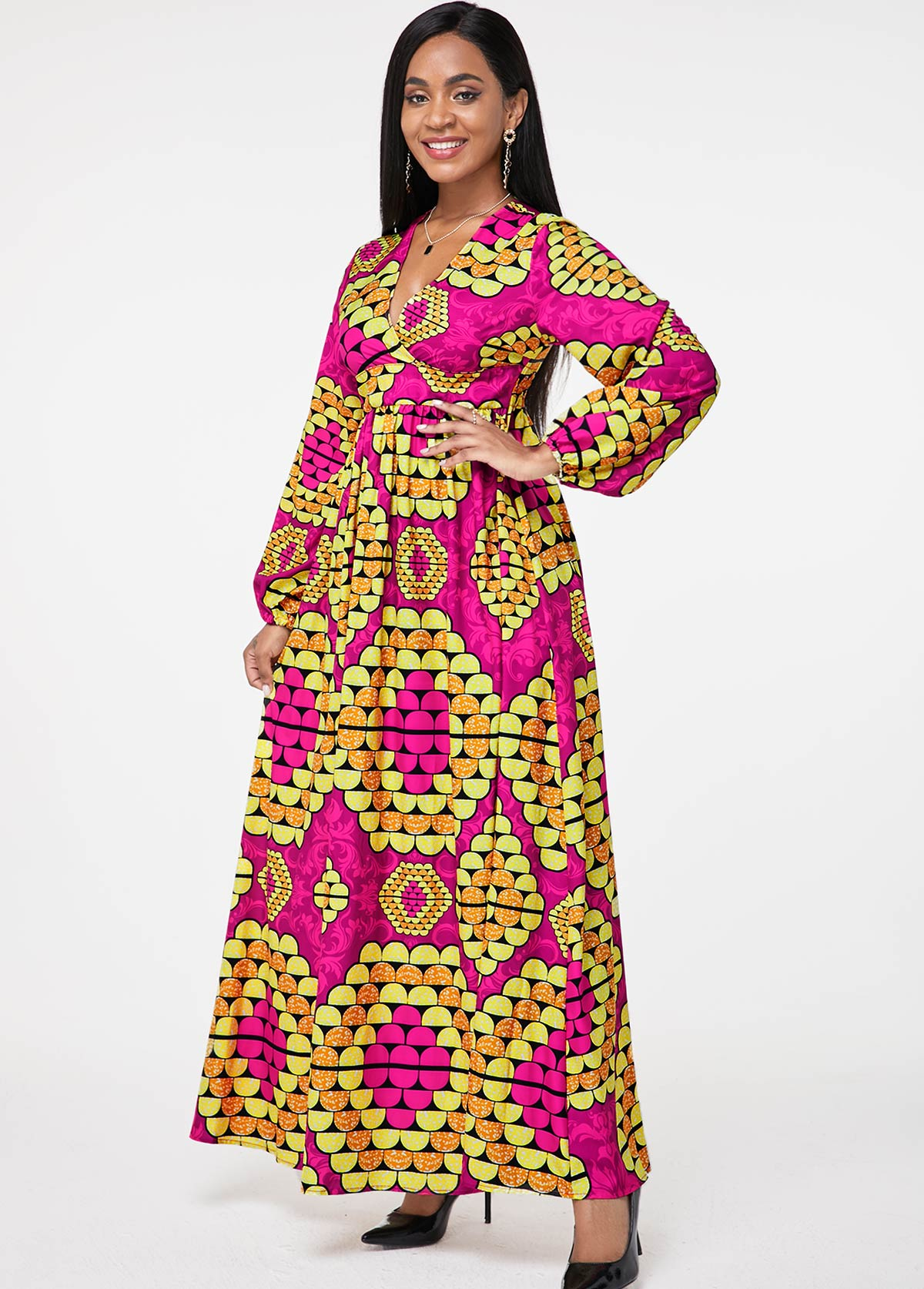 Tribal Print Long Sleeve V Neck Dress