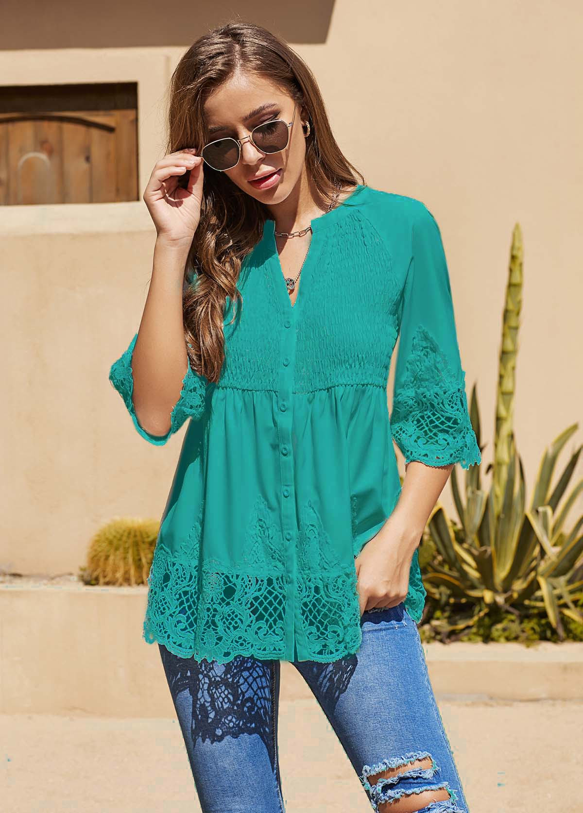 ROTITA Lace Panel Three Quarter Sleeve T Shirt