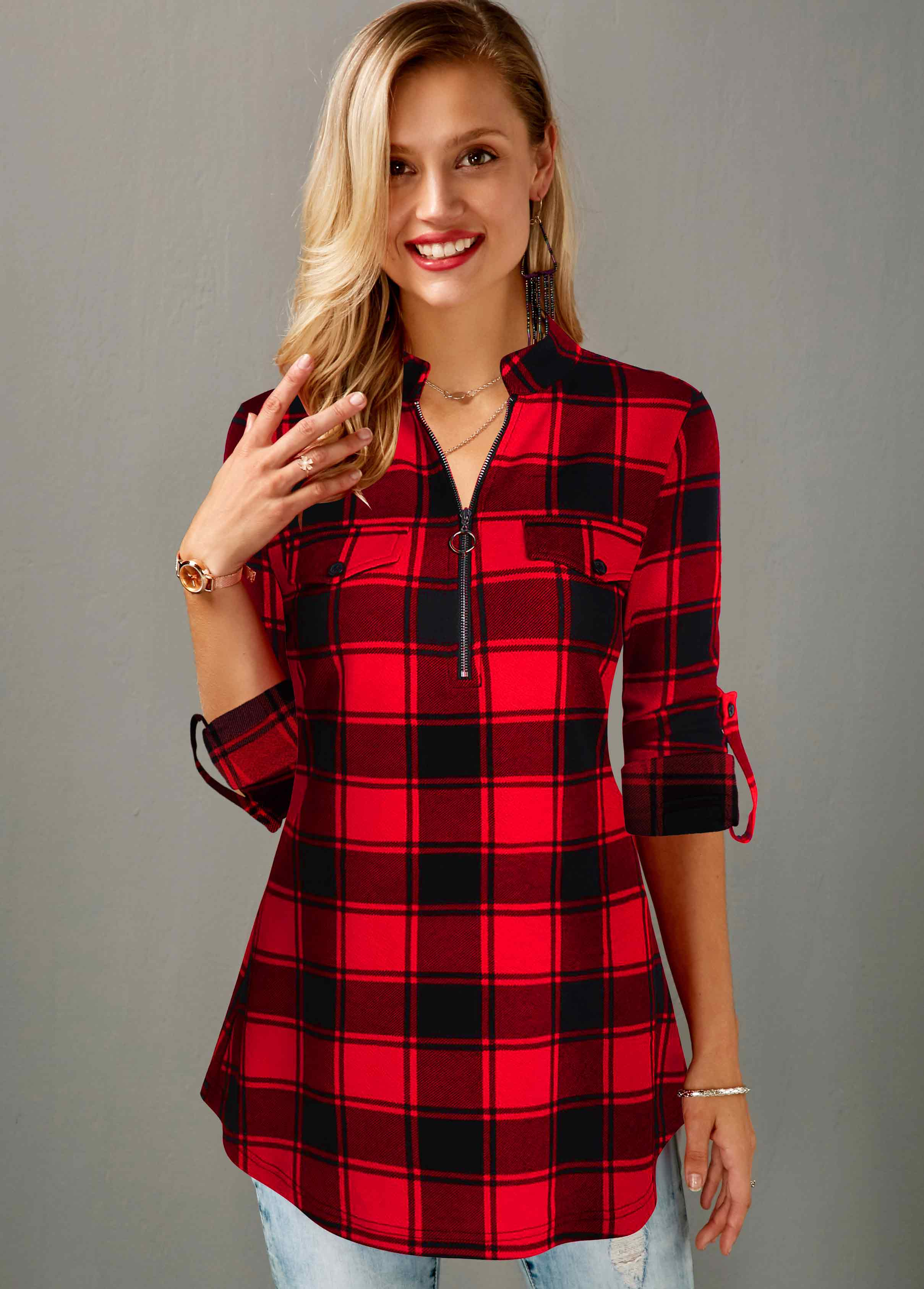 ROTITA Quarter Zip Roll Tab Sleeve Plaid Print Blouse