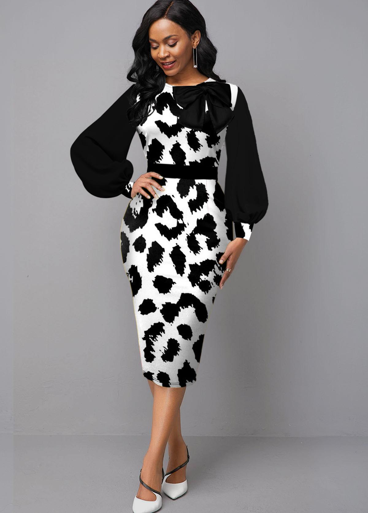 ROTITA Lantern Sleeve Leopard Print Bowknot Dress