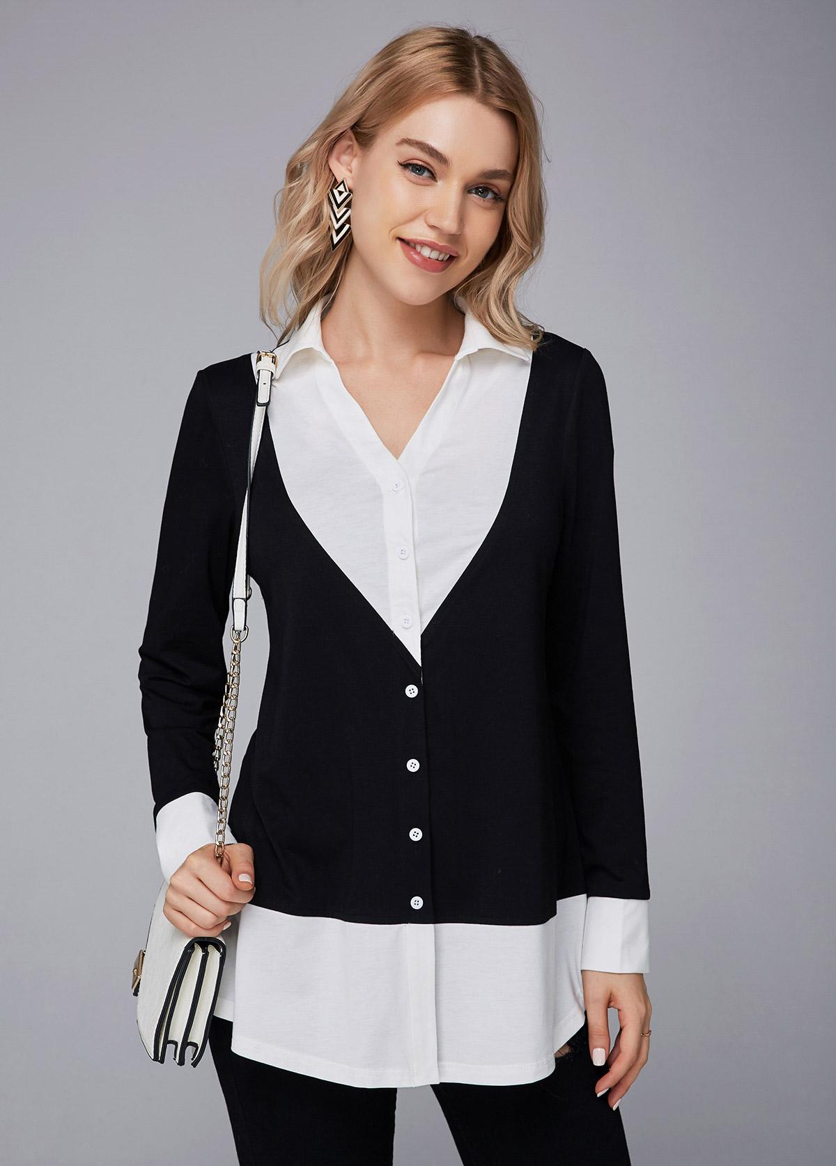 ROTITA Button Up Turndown Collar Contrast T Shirt