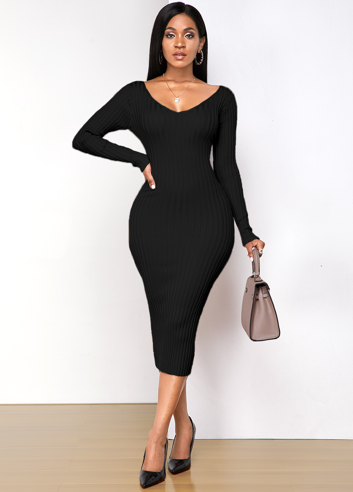 Off Shoulder Long Sleeve Sheath Dress