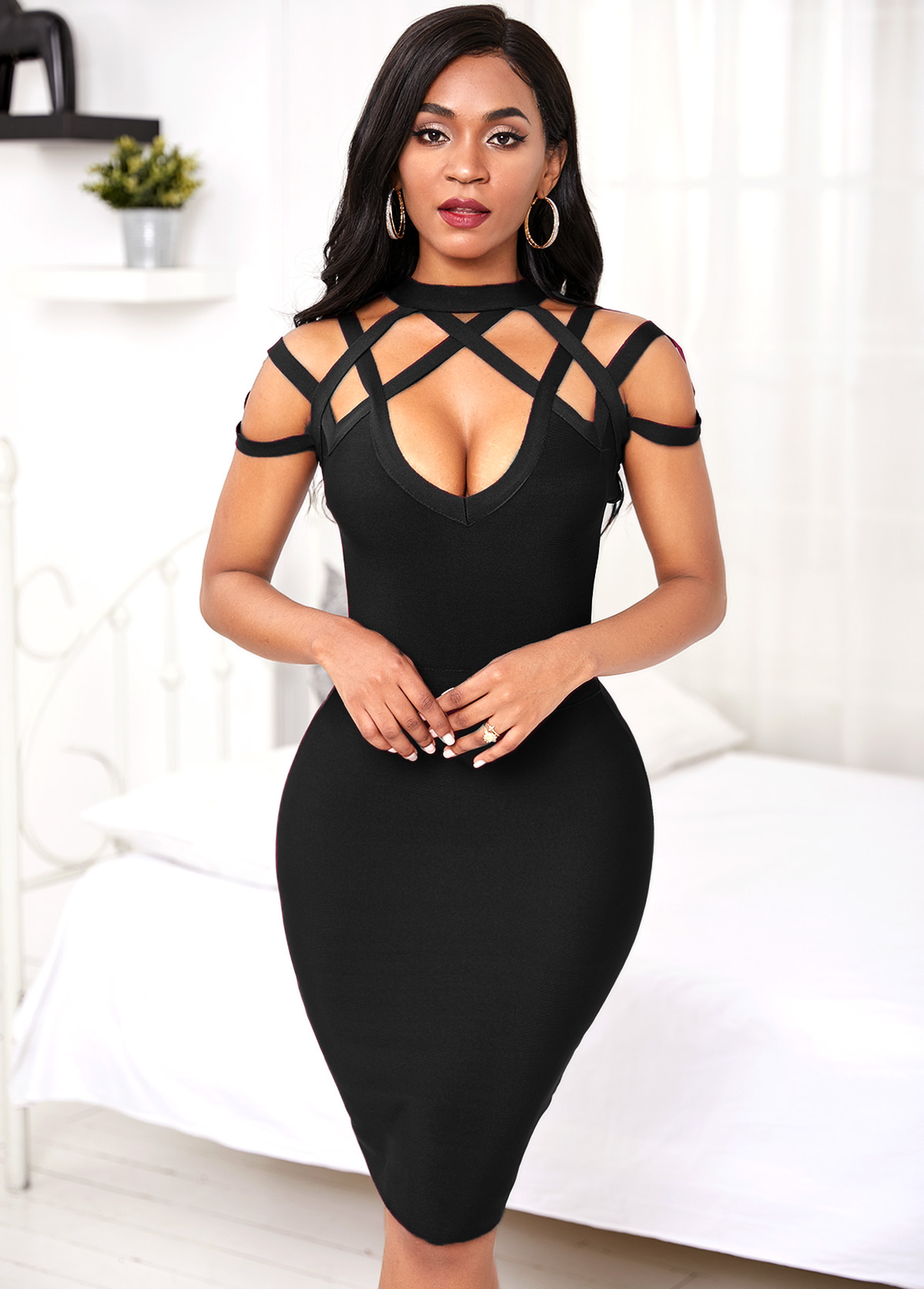 Lattice Yoke Black Sheath Dress
