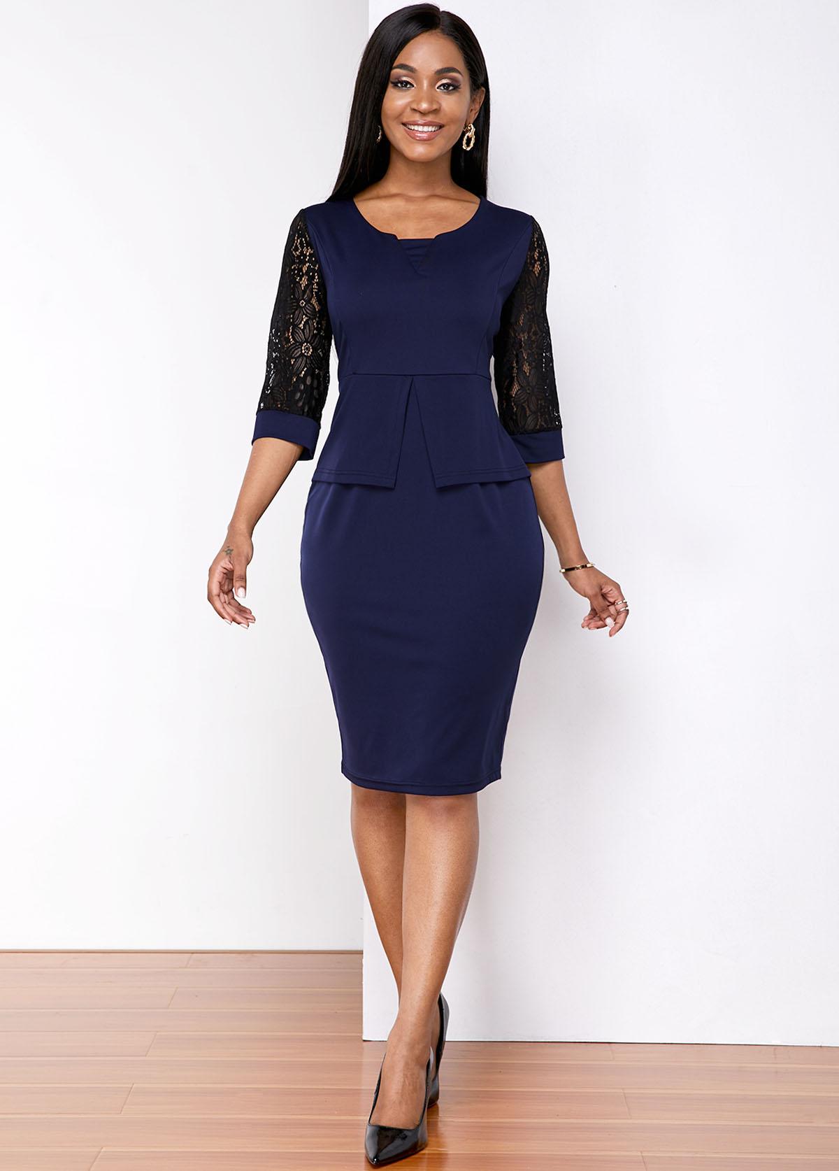 ROTITA Peplum Waist Lace Stitching Bodycon Dress