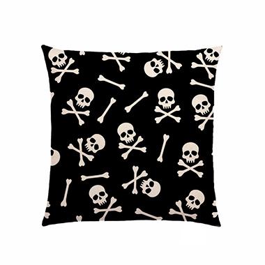 Halloween Skeleton Print Black Pillow