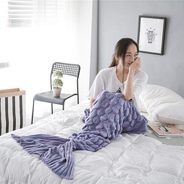 Rib Knit Mermaid Tail Purple Blanket