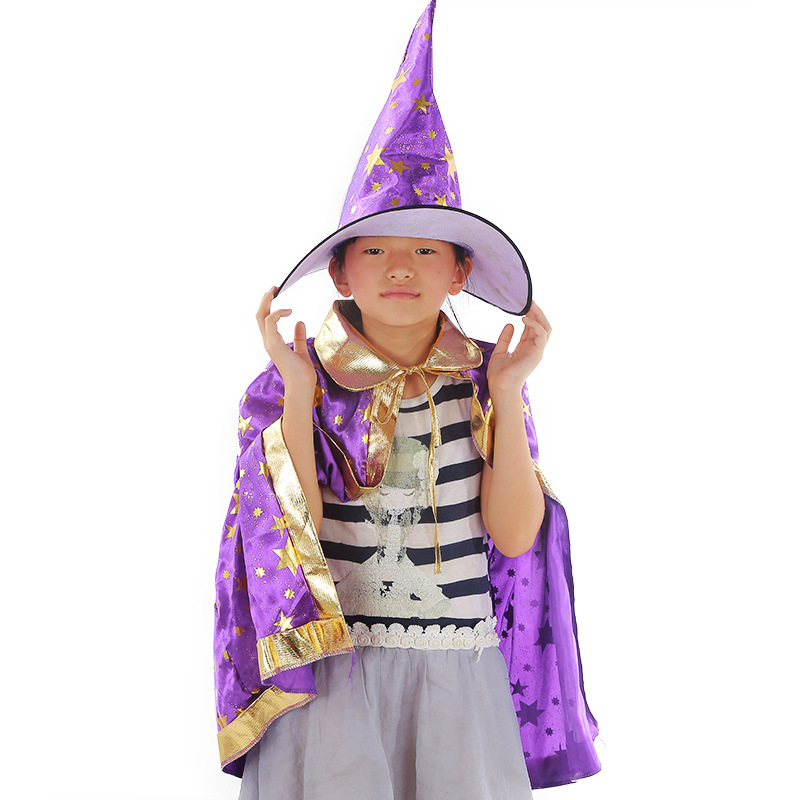 Purple Halloween Cloak and Witch Hat