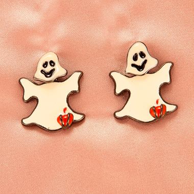 Halloween Ghost Design Beige Earring Set