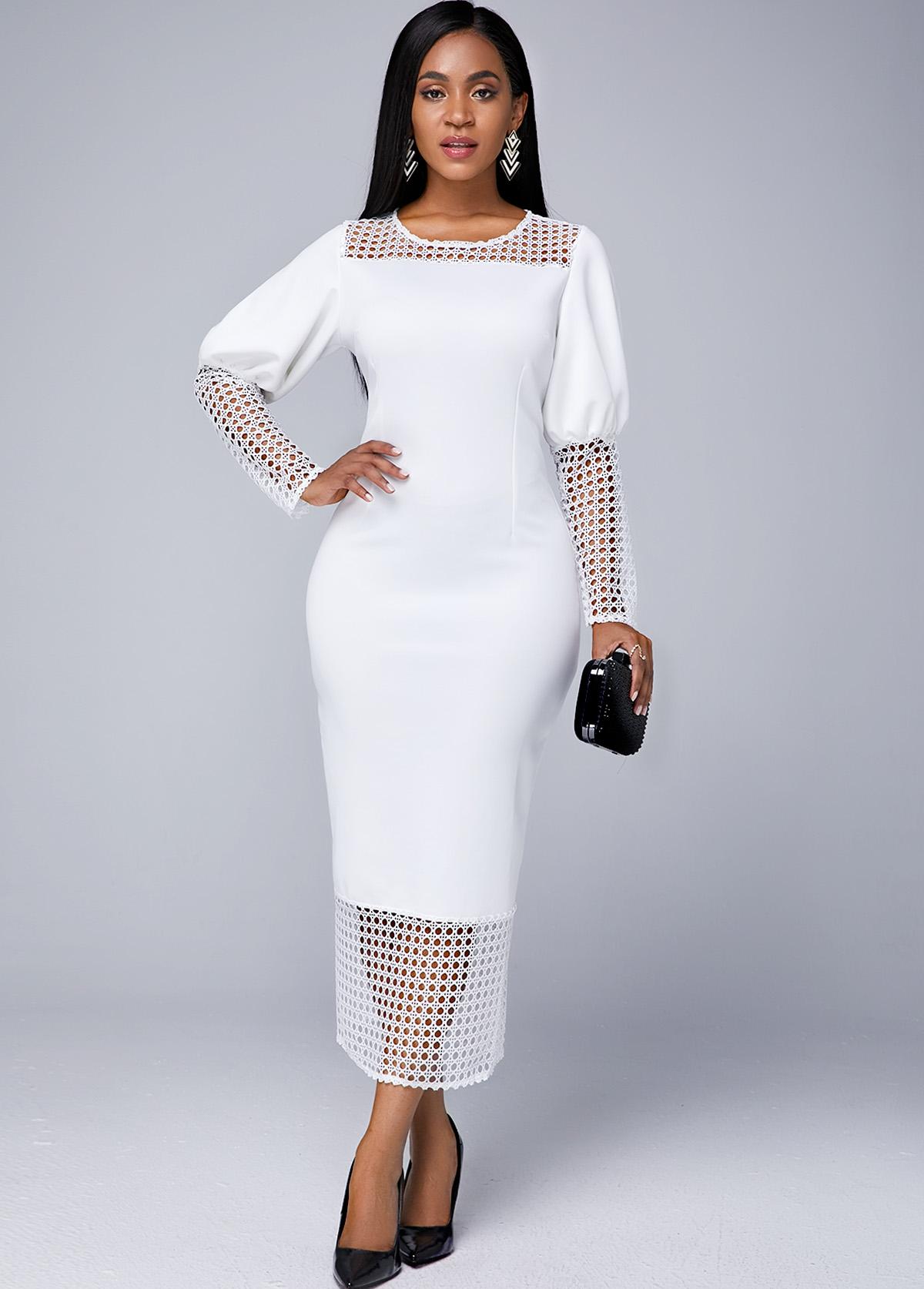 Lace Panel Long Sleeve Round Neck Dress