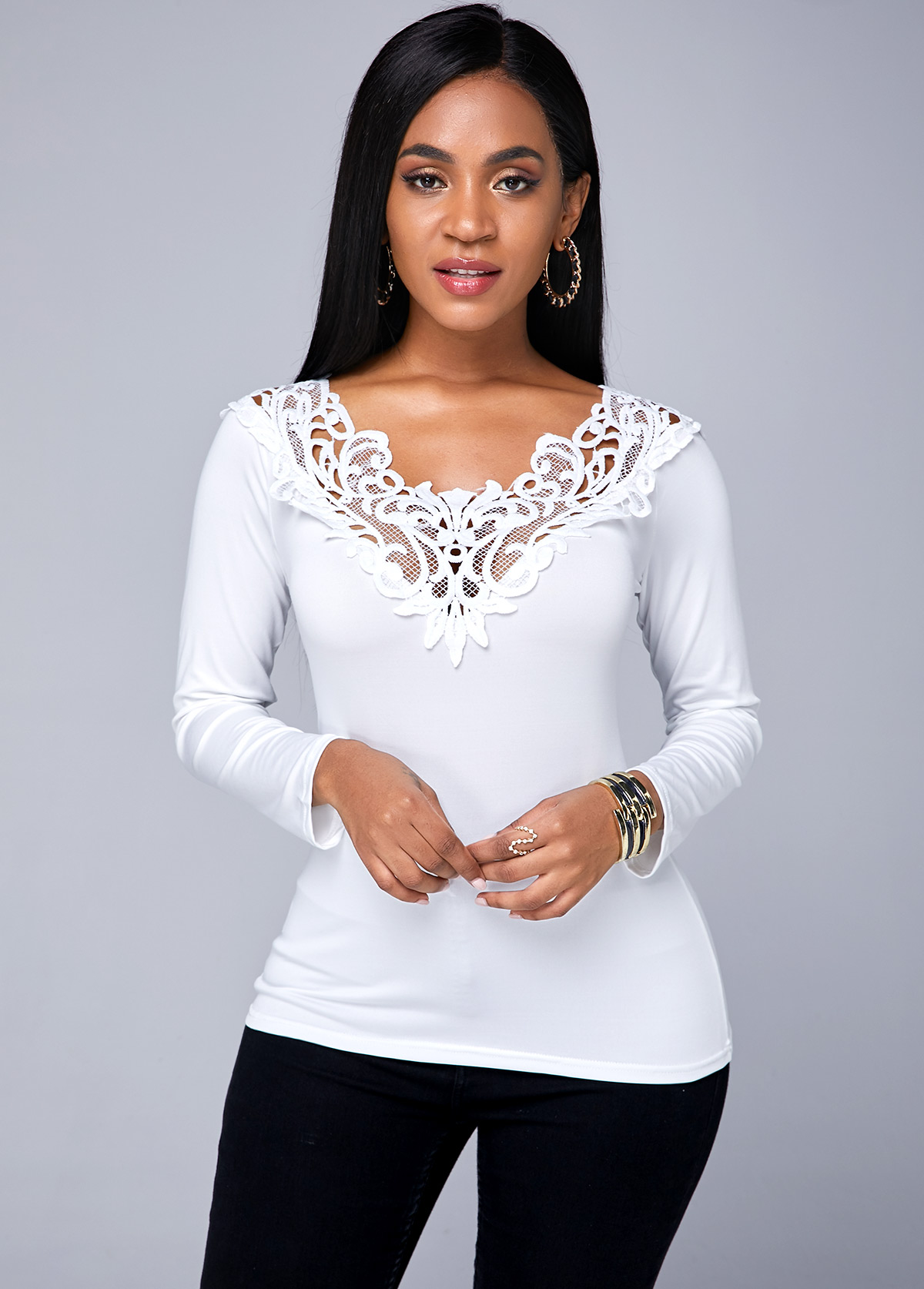 Lace Panel White Long Sleeve T Shirt