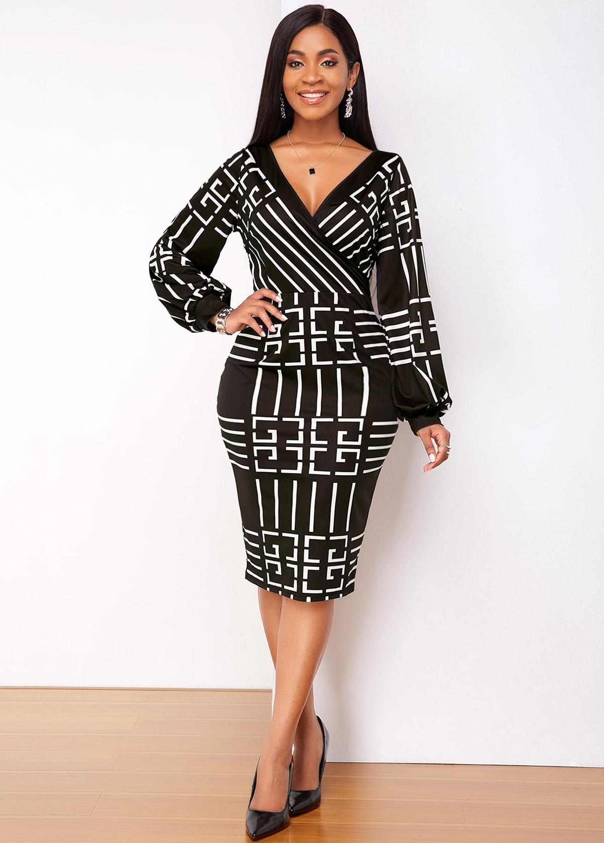 ROTITA Geometric Print Long Sleeve V Neck Dress